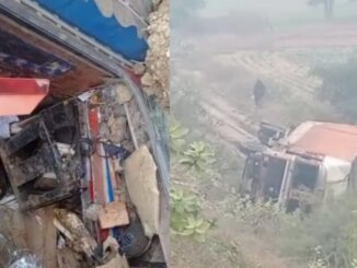 Uncontrolled truck fell down from the bridge, driver injured, luggage loaded in truck stolen
