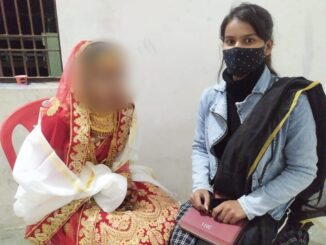 Police and child line team ran on information of child marriage of two girls