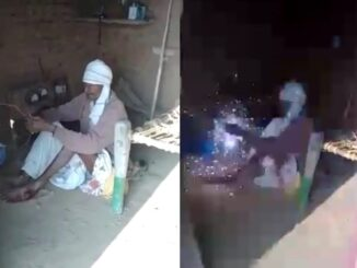 A video of a farmer trying to commit suicide by applying a ration to himself is viral