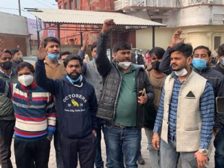 Youth Congressmen protest, accused of allotting liquor shop 50 meters from temple