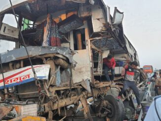 Sleeper coach bus rammed into truck parked on expressway, a dozen people from West Bengal injured
