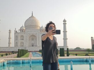 The Taj Mahal was full of tourists, Melissa Dalroza of Brazil also visited