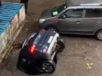 The car parked in the parking lot disappeared like this, you will be surprised to see the viral video
