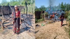 A fire broke out in the hut while cooking with the spark of the stove, the goods burnt to ashes, pleaded for help